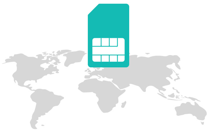 International SIM card <br /> which saves you up to 90% on roaming charges